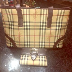 Burberry Haymarket Bag and Wallet Set